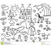 Childrens Drawingsvector Stock Vector Illustration Of