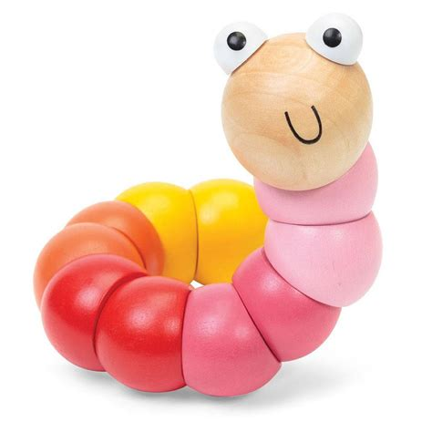 pink toy wooden bendy caterpillar toy by little baby company