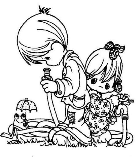 water hose coloring page boy girl and water hose digital precious moments