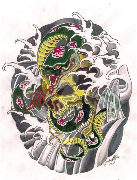 traditional japanese tattoo designs traditional japanese snake and skull design by