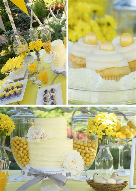 Kara's Party Ideas Yellow and Gray Wedding Dessert Table