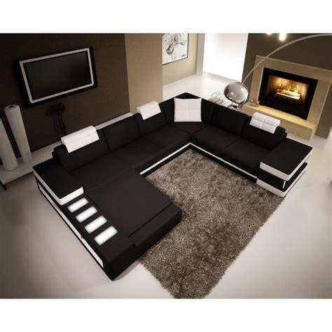 canapé panoramique en cuir canap 201 d angle panoramique en cuir noir et blanc r achat