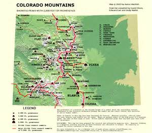 map of colorado mountain peaks peaklist prominence lists and maps