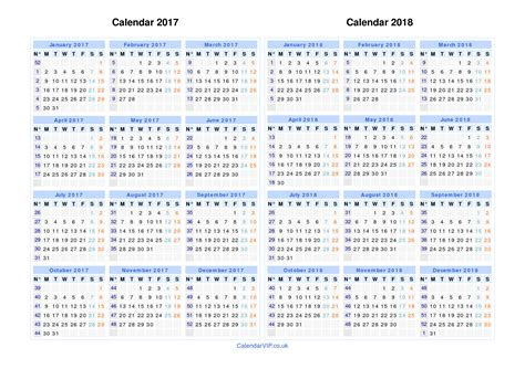 Calendar 2017 And 2018 Uk Calendar 2017 2018 Free Two Years Calendar Templates For Uk