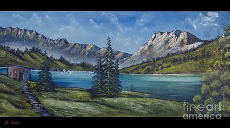 bob ross painting mountain ridge mountain painting a la bob ross painting by bruno santoro