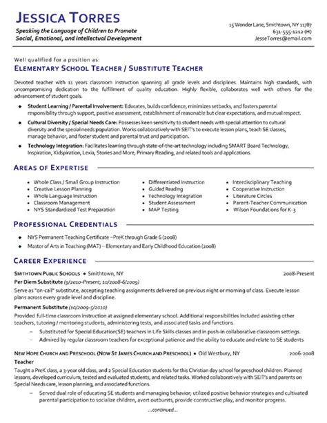 Exle Of Teaching Resume by Substitute Resume Exle