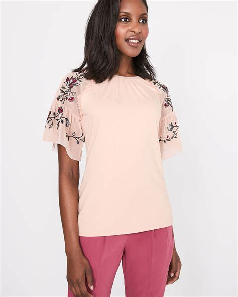 Sleeve Embroidered T Shirt t shirt with embroidered flounced sleeve rw co