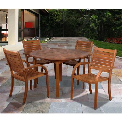 Amazonia Arizona Eucalyptus Wood 5 Piece Round Patio Wooden Patio Dining Set
