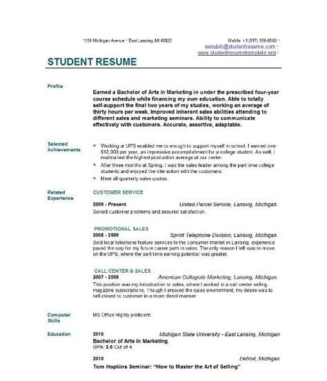 exle resume exle resume for student in college