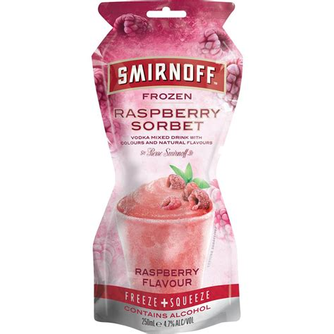 Summer Reading Milk Eggs Vodka by Smirnoff Vodka Sorbet Pouches Raspberry 250ml Woolworths