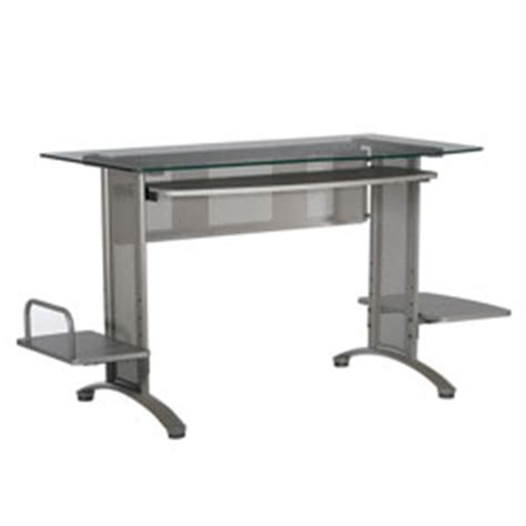 Office Depot Glass Computer Desk Studio Rta Malibu Glass Computer Desk 29 34 H X 46 78 W X 25 38 D Pewter By Office Depot Officemax