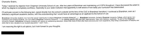 chapman acceptance letter would be student weasels acceptance out of school after being rejected by suggesting