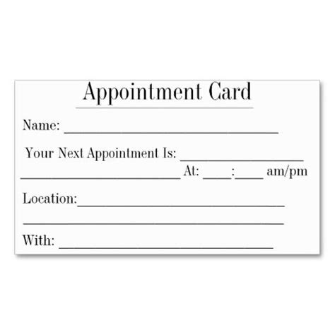 Clinic Appointment Card Template by Simple Appointment Business Cards In White Appointment