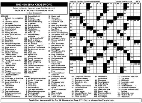 usa today crossword sunday newsday crossword sunday creators syndicate