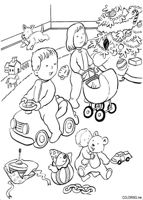 coloring page christmas children are playing coloring me