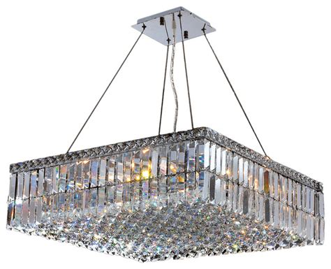 Large Square Chandelier Cascade 12 Light Chrome Finish And Clear 24