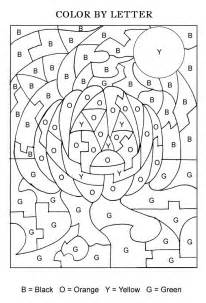 Halloween color by letters activity coloring pages for kids coloring
