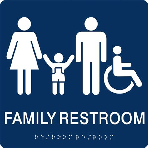 family bathroom sign family restroom braille sign to meet ada requirements for