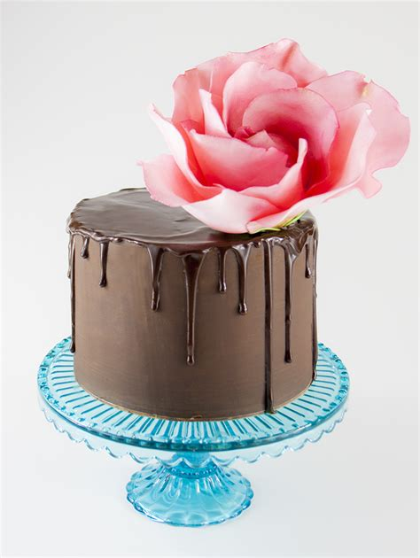 How To Make Cake Decorations At Home by Sweet Peony 187 Sugar Rose Ganache Drip Cake