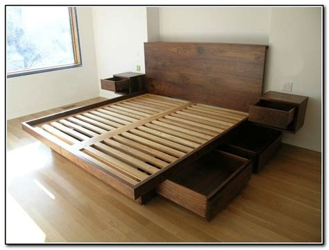 Bed Storage Frame by King Size Platform Bed With Drawers Planshome Furniture