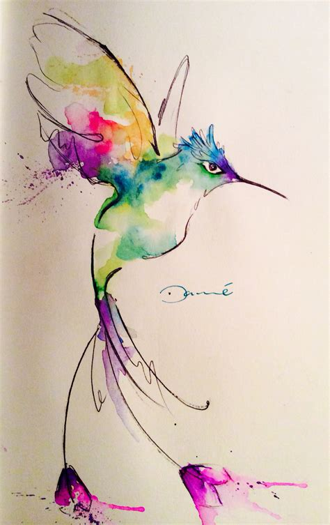 watercolor tattoo ek i watercolor hummingbird colorfull and cure desing