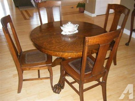 antique oak tiger wood dining room set for sale in