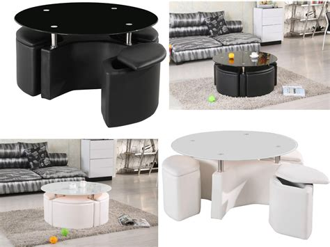 Ottoman Table With Stools by Chrome Glass Coffee Table With 4 Ottoman Storage