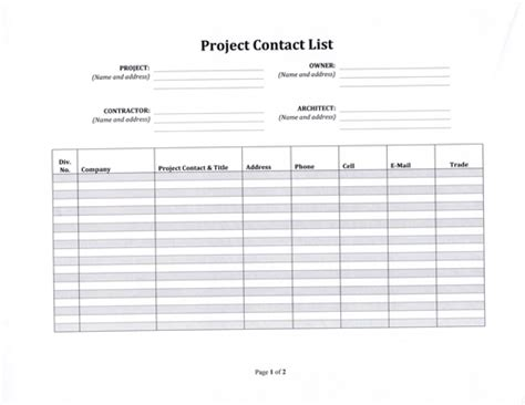 project management contact list template construction project contact list template 5 99