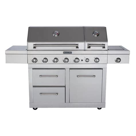 kitchenaid 6 burner dual chamber propane gas grill in