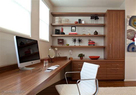 modern home office with built in desk storage modern