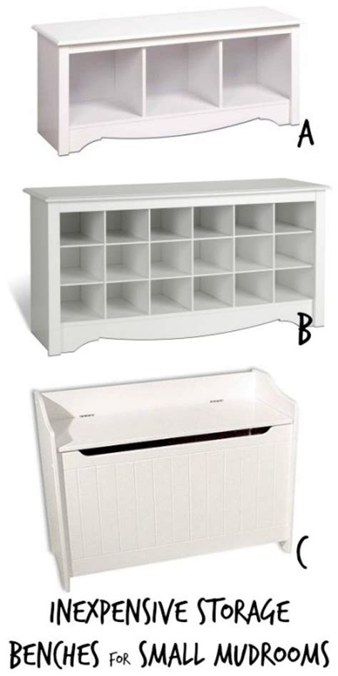 Inexpensive Storage Bench Remodelaholic Get This Look Small Space Mudroom