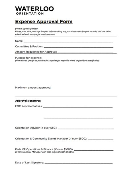approval template expense approval form sle expense approval form
