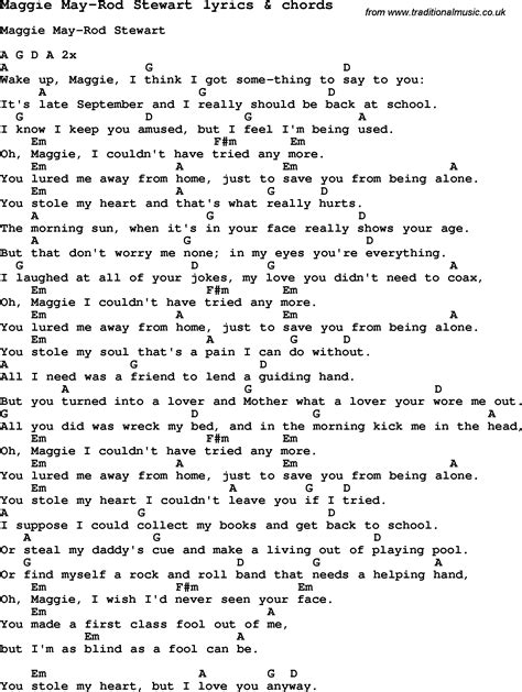 my lyrics rod stewart song lyrics for maggie may rod stewart with chords