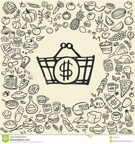 doodle food icons doodle food icons stock vector illustration of background