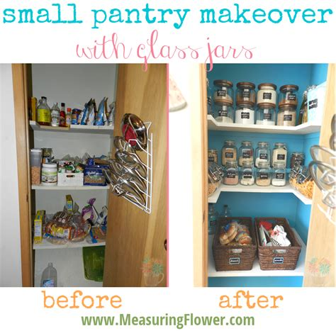 Small Pantry Makeover by Small Pantry Makeover With Glass Jars Before And After