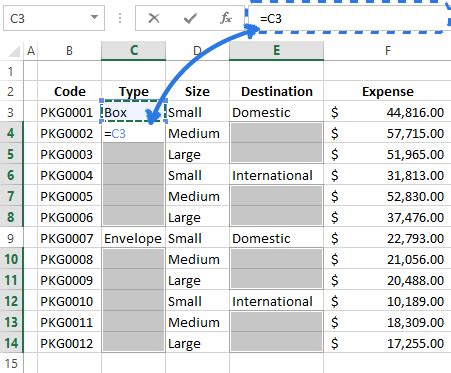 fill in blanks in excel with value above/below, fill empty