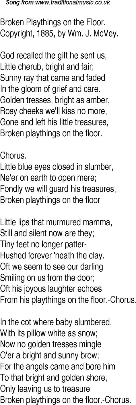 Old Time Song Lyrics for 19 Broken Playthings On The Floor