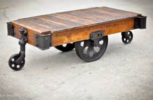 vintage industrial cart coffee table bachelor pad