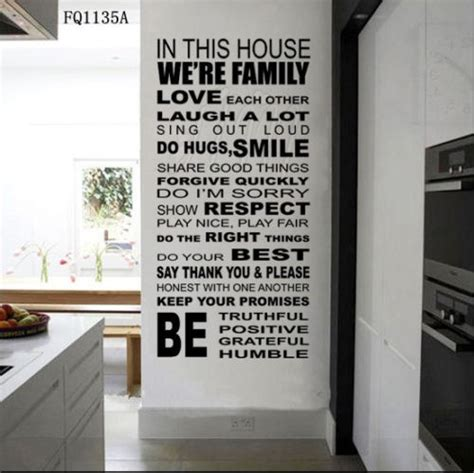 in this house wall sticker aliexpress buy quote we are family in this house words poem wall sticker decal
