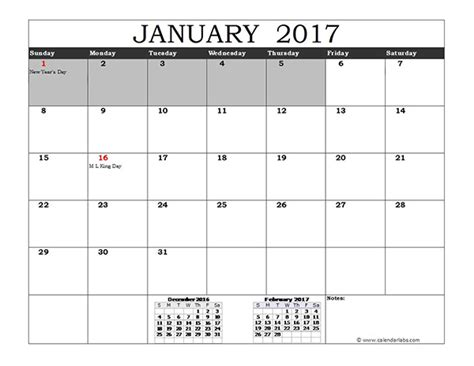 Calendar 2017 Template With Holidays 2017 Excel Calendar With Us Holidays Free Printable