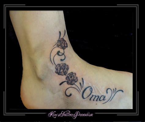 tattoo letters voet rozen en tekst voet kim s tattoo paradise