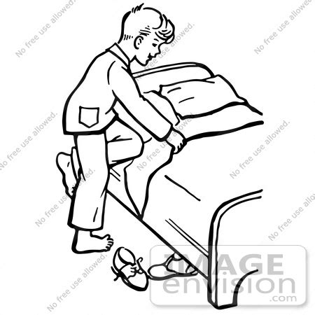Clipart Of A Retro Boy Climbing Into Bed In Black And How To Make A Picture Into A Coloring Page