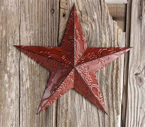 home decor star red metal embossed barn star wall decor home decor