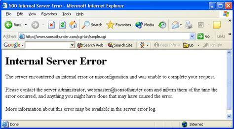 internal server error sons of thunder software setting up mc rev as a cgi