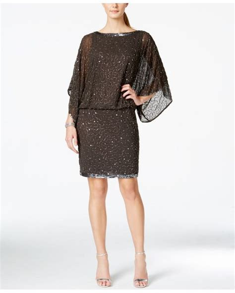 blouson beaded dress j kara beaded blouson cocktail dress in gray lyst