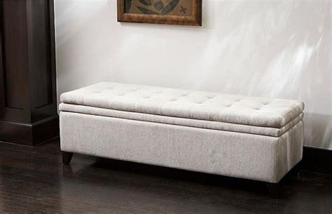 Brighton White Linen Storage Ottoman Contemporary Overstock Ottoman Storage