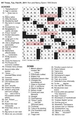 usa today crossword may 13 the new york times crossword in gothic 02 01 11 mixed media