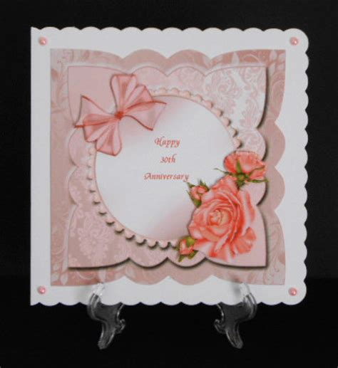 Handmade Pearl Anniversary Cards - pearl 30th wedding anniversary card front with decoupage