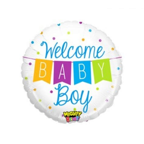 welcome baby boy banner balloon