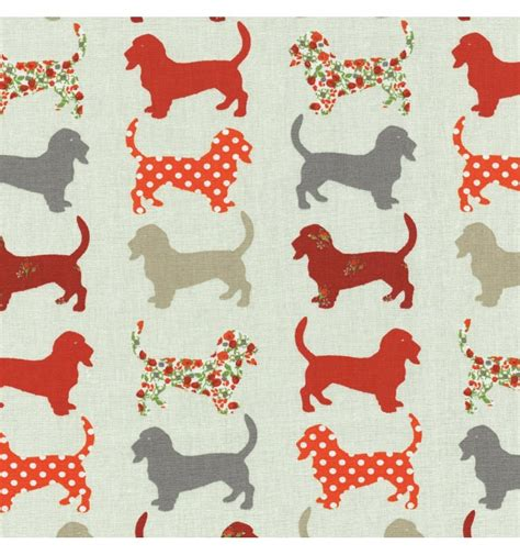 puppy fabric hound fabric greys orange reds and florals textiles fran 231 ais